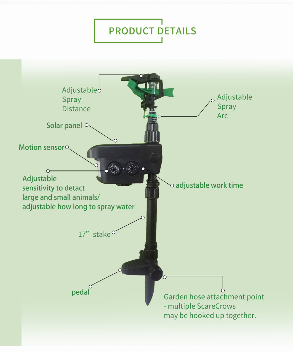Sprinkler Motion Activated Animal Deterrent//Repellent,Water Spray,Scarecrow Away